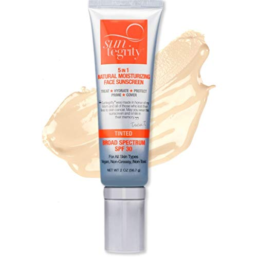 Suntegrity Tinted 5 in 1 Mineral Sunscreen for Face (SPF 30-2 oz) | Natural BB Cream...