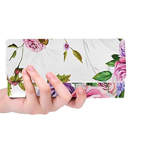 Monedero con Monedero de Bloqueo RFID con Tarjetero de Tarjeta de crédito de Dibujos Animados Floral Hermosa Rosa para Mujer Cartera de Embrague Monedero Cartera de Cuero para Mujer Cartera de embra