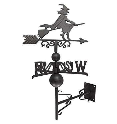 aubaho Nostalgie Wand Wetterhahn Hexe Garten Dekoration Windrad Eisen Wetterfahne braun
