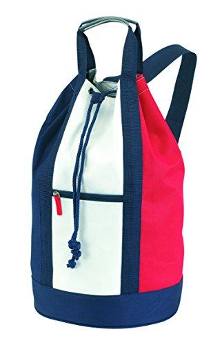 noTrash2003 Matchsack Seesack Mehrfarbig maritimer Look Blau Weiss und Rot ca 50 cm mit verstellbarer Schultergurt