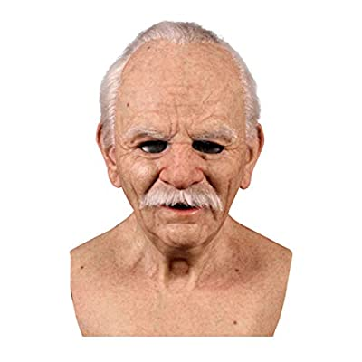 Old Man Mask Realistic Latex Human Decorative Halloween Masks for Adults (BeigeG) from