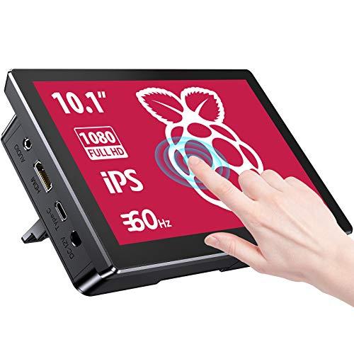Monitor Raspberry Pi, Pantalla Táctil de 10,1 Pulgadas con Estuche, LCD IPS de 1920x1200 / 1366x768 con Ventilador de Refrigeración, Parlantes Dobles Integrados, para Raspberry Pi 4/3B +
