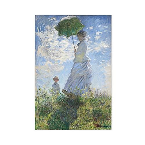 Póster de lona de Claude Monet de The Walk. Lady with A Parasol para dormitorio, deportes, paisaje, oficina, decoración de habitación, regalo Unframe: 40 x 60 cm