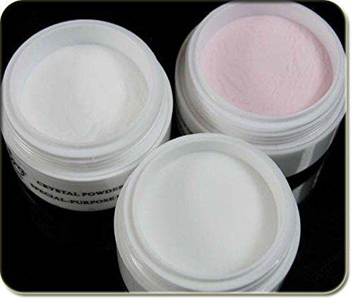 New Nail Art Lot de 3 sachets de poudre acrylique - 30 g - Transparent - Rose - Blanc - Pour nail art - Accessoire de modelage