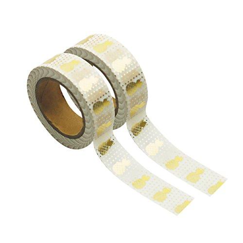 Party Pro 80823 Washi Tape, Papier, Blanc Ananas Or, 4,5 x 4,5 x 1,5 cm