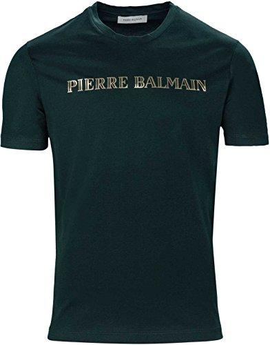 Pierre Balmain Herren Shirt Logo-T-Shirt Logo Patch T-Shirt, Farbe: Dunkelgruen, Größe: 50