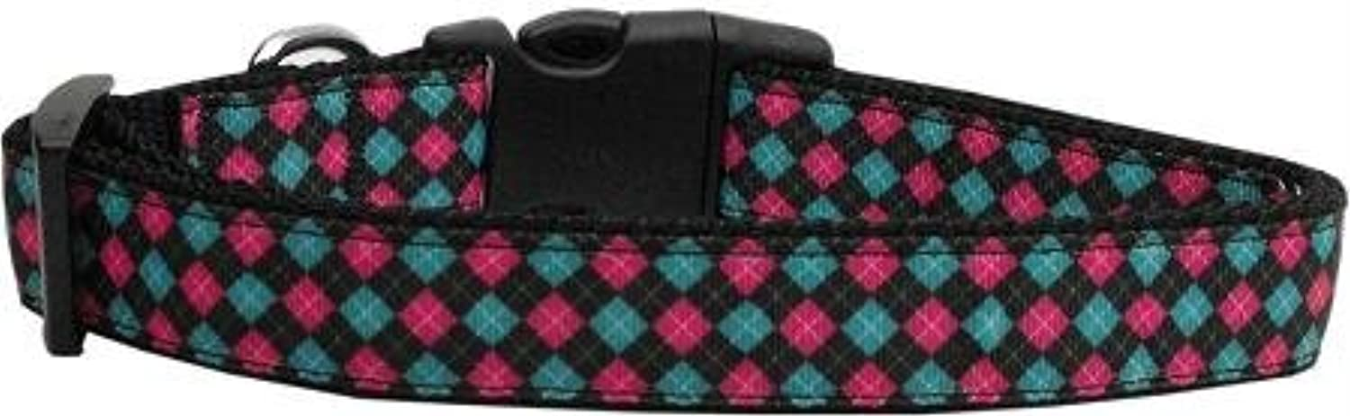 Mirage Pet Products 125120 MD Pink and bluee Plaid Dog Collar, Medium