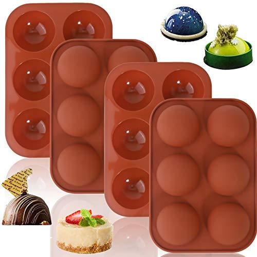 2+2 Stücks Silikon Donut, Medium Semi Sphere Silikonform, Runde Schokoladenplätzchenformen für Schokoladenüberzug Perfekt für heiße Schokoladenbombe, Gelee, Brownie-Kuchen