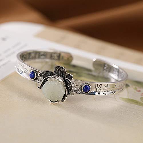 THTHT S925 Vintage zilveren armband voor dames en heren Mantra met zes letters, Jade Lotus, boeddhistisch, eenvoudig en eenvoudig, Chinese stijl, creatieve charme, mooi cadeau