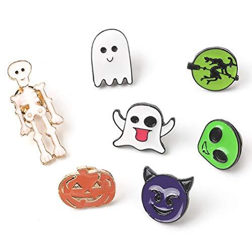 Suszian 7 Piezas de Dibujos Animados de Halloween Pin de Solapa Pin Calabaza Fantasma Divertido Ramillete Broche Decoración de Disfraces Regalo de joyería, Bodas de Mujer Banquete Broche