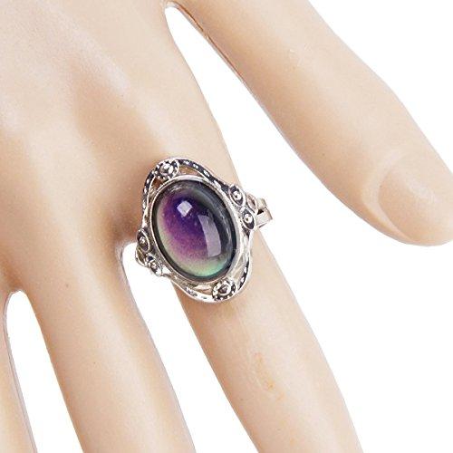 Pixnor Gypsy Boho Anello regolabile ovale che cambia umore anello