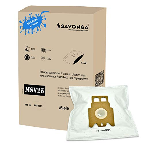 Savonga 10x Staubsaugerbeutel für Miele JFM S 771 S4-S4000.4999 Serie S5 S8340 S5211 S2 S2000-2999 S5000-5999 UVM. + 1 Motor Filter + 1 Micro Filter