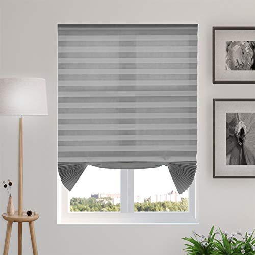 """TFSKY Temporary Blinds Cordless Pleated Shades and Blinds for Windows Light Filtering Fabric Blinds, Easy to Install and Cut, 3-Pack Grey, 48""""x72"""""""