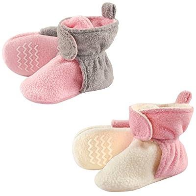 Hudson Baby Unisex Cozy Fleece Booties, Lt Pink Cream, 18-24 Months
