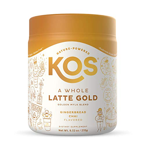 KOS Golden Milk Powder with Turmeric and Ginger - Gingerbread Chai Flavored Tumeric Latte - 9.5 oz.