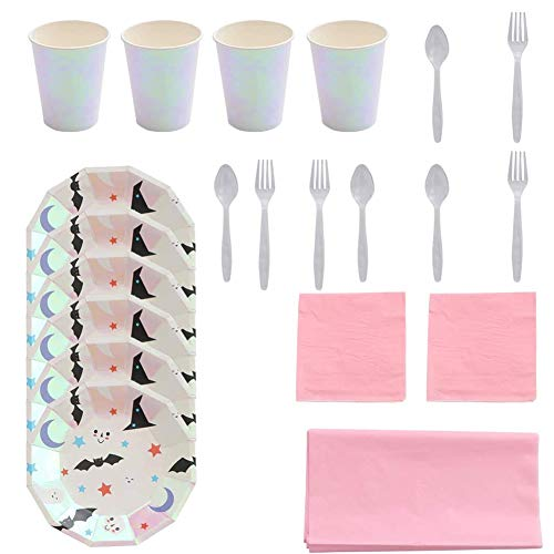 SIMUER 40PCS Disposable Halloween Dinnerware Halloween Party Supplies Including 8 pcs 9-inch Paper Plates 8 Ghost-Shaped Paper Trays 8 Cups 8 Spoons 8 Forks