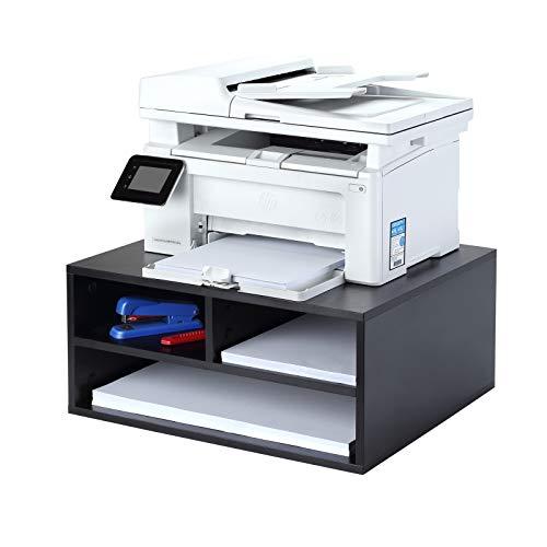 1home Monitor/Drucker/Fax Ständer Schreibtisch Organizer Büromaschinen-Ständer mit 3 Schubladen aus Holz