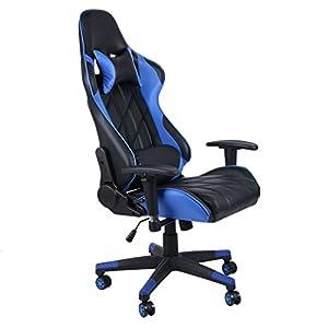 Gaming Chair Racing Style – Silla de oficina con respaldo alto para videojuegos, silla de oficina ajustable de piel con…