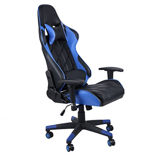 Gaming Chair Racing Style Computer-Gaming-Stuhl mit hoher Rückenlehne Verstellbarer Bürostuhl aus Leder mit Kopfstütze und Lordosenstütze, weiß (Blue2)
