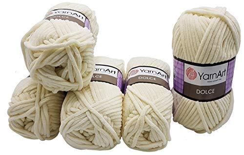 YarnArt Dolce 5 x 100 Gramm Strickwolle, Babywolle, 500 Gramm Wolle Super Bulky (Creme 745)