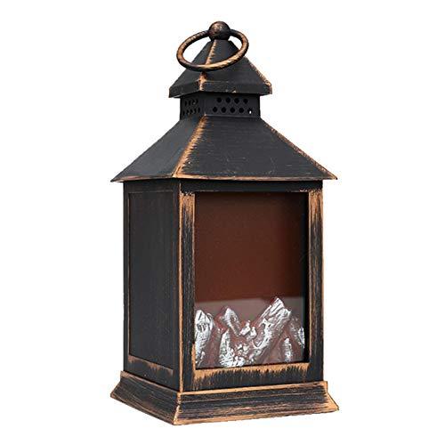 Wenhe Lámpara colgante de chimenea LED exquisita, realista, funciona con pilas, sin calefacción, con llamas 3D, lámpara de chimenea, lámpara portátil, decoración de escritorio, chimenea