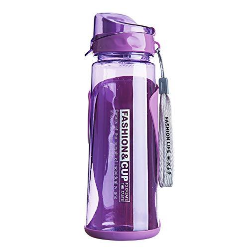 fuchsiaan Botella de agua para deportes con tapa abatible de 800 ml, para viajes al aire libre, camping, a prueba de fugas, para gimnasio, ciclismo, correr, yoga, senderismo, morado