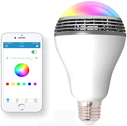 Bluetooth Light Bulbs Speaker, Wireless E27 E26 Smart LED Lightbulb Lamp Lighting with RGB Color Changing / Music Player / Smartphone App Controlled for Home-White
