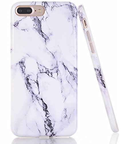 BAISRKE iPhone 7 Plus Case, White Black Marble Creative Design Slim Flexible Soft Silicone Bumper Shockproof Gel TPU Rubber Glossy Skin Cover Case for iPhone 7 Plus iPhone 8 Plus 5.5 inch