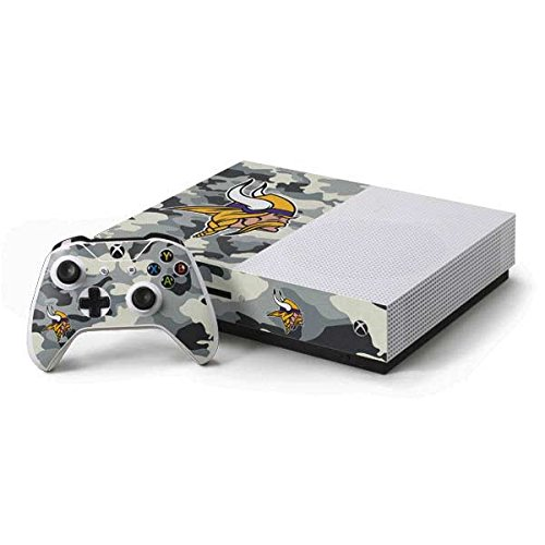 Skinit Decal Gaming Skin Compatible with Xbox One S Console and Controller Bundle - Officially Licensed NFL Minnesota Vikings Camo Design