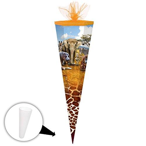alles-meine.de GmbH Schultüte -  Zootiere - Safari Tiere  - 70 cm - Filzabschluß - Zuckertüte - mit / ohne Kunststoff Spitze - Markneukirchen - Jungen Mädchen - Tier Giraffe / ..