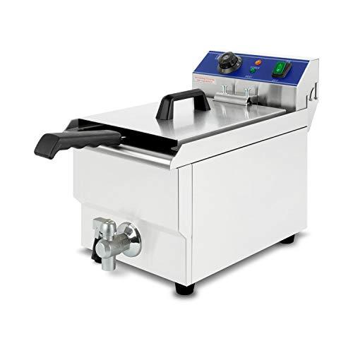 vertes Friggitrice 17L (3000 Watt, temperatura regolabile fino a 200°C, elettrica 230V, capacità olio 11L, principio della zona fredda, cestino per friggere, funzione di reset, acciaio inox)