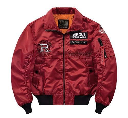 LFDJNZ Streetwear Jacken für Männer locker rot Navy weiße Jacke Männer Frühling Herbst Baseball Pilot Jacke Mantel 4XL rot