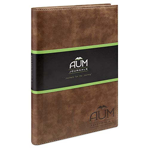 AUM Journal for Life – Cuaderno de diario de piel rellenable B5, tamaño grande (24 x 18 cm) Aum Journals con forro de grano completo de piel sintética – gama B5 Classics, color madera Large - B5