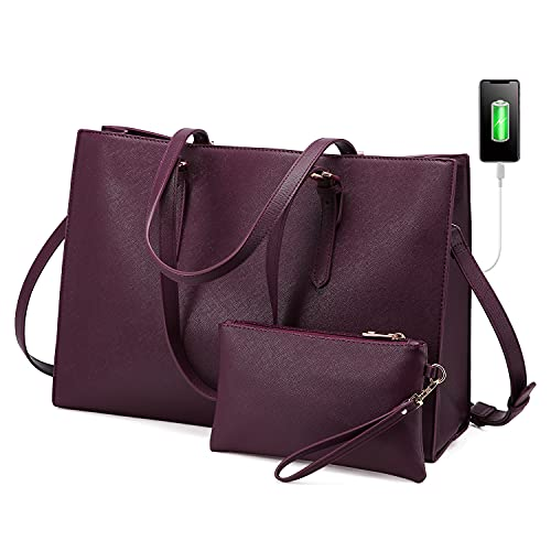 LOVEVOOK Laptop Bag for Women, Fashion Computer Tote Bag Large Capacity Handbag, Leather Shoulder Bag Purse, Professional Business Work Briefcase for Office Lady, 15.6-Inch, Deep Plum