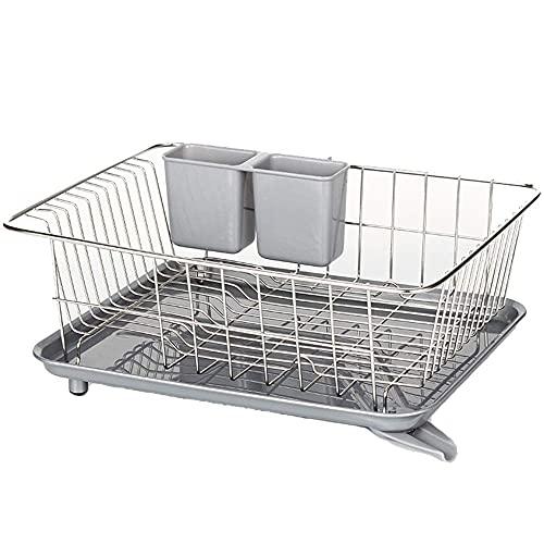 Muebles para el hogar Escurridor de platos sobre el fregadero Fregadero Estante de secado de platos Bandeja de vajilla de plástico extraíble Escurridor con pico giratorio ajustable para un drenaje