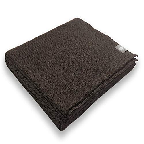 Craft Story Decke Yara I Uni Dunkelbraun aus 100% Baumwolle I Tagesdecke I Sofa-Decke I Überwurf I Picknickdecke I Nutz- & Schutzdecke I ca.170 x 220cm