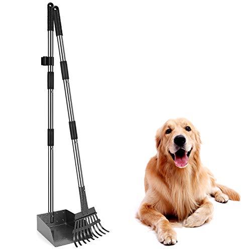 Bamda Hundekotschaufel und Metall Rechen, mit Verstellbarer Länge 93/96 cm, mit Rake Waste Removal Scoop 2 Stück Set Dog Poop