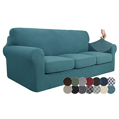 ZNSAYOTX 4 Piece Jacquard Couch Covers for 3 Cushion Couch Super Stretch Thick Soft Sofa Cover Anti Slip Elastic Sofa Slipcover for Dogs Pets...
