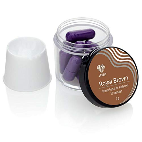 LOVELY HENNA, wenkbrauwkleur (12 capsules á 5g) haarpoeder voor wenkbrauwen, kleefkracht tot 6 weken, verschillende wenkbrauwkleuren, Farbton:Royal Brown