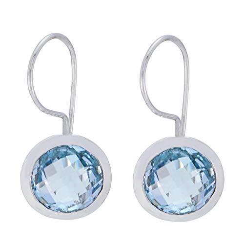 joyas plata genuino topacio azul piedras preciosas forma redonda corrector especial plata de ley 925 pendiente