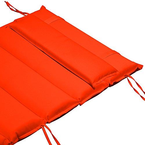 Deuba Almohadilla para Tumbona cojín Naranja para Silla sillón Incl. Almohada con Correas de sujeción para Tumbona de Sauna