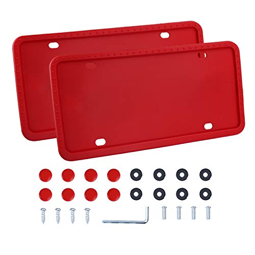 LivTee Red Silicone License Plate Frame, Universal American Auto License Plate Frame, Rust-Proof, Rattle-Proof, Weather-Proof(2pcs)