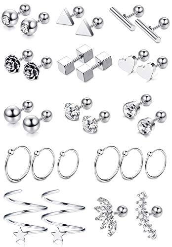 LOYALLOOK 14 Pairs 18G Stainless Steel Flower Heart Star Cartilage Earring CZ Inlaid Barbell Helix Stud Earrings Hoop Tragus Earring Piercing Jewelry