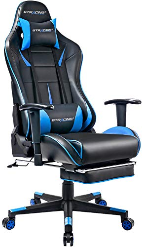 GTRACING Gaming Chair with Footrest Big and Tall Office Executive Chair Heavy Duty Adjustable Recliner with Headrest Lumbar Support Cushion Desk Chair (Black&Blue)