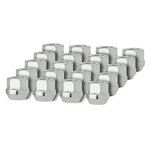 DPAccessories D2126-2308 One 1 19mm Hex Wheel Lug Nut Cone Seat Silver 12x1.5 Open End Bulge Acorn Lug Nut