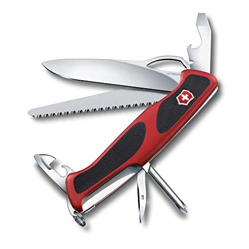 Victorinox Ranger Grip 78 Couteau de Poche Suisse, Multitool, 12 Fonctions, Lame Fixe, Ouverture Une Main, Rouge/Noir