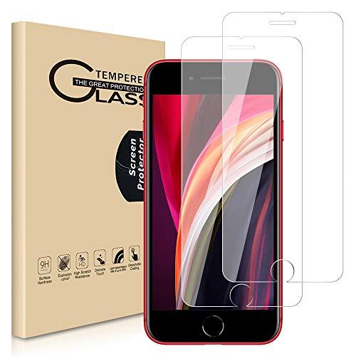 [2 unidades] Protector de pantalla para Apple iPhone SE 2020/iPhone 8/iPhone 7, 4.7 pulgadas, vidrio templado protector de pantalla compatible con Apple iPhone SE 2ª generación, transparente