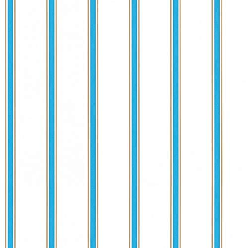 Papiertapete Tapete Streifen Getsreifte Tapeten Tapete Kinderzimmer Esprit-Tapeten 358312 35831-2 Esprit HOME Esprit Kids 5   Blau Braun Weiß   Rolle (10,05 x 0,53 m) = 5,33 m²