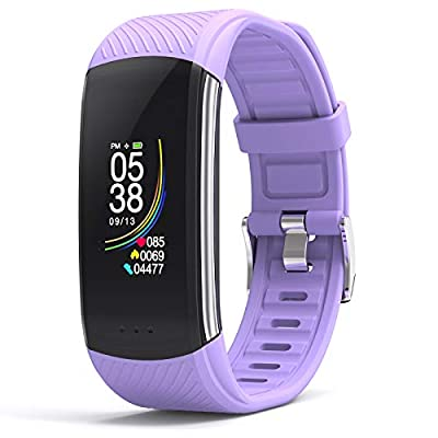 DFG Fitness Tracker Heart Rate Monitor Blood Pressure Health Activity Tracker, Blood Oxygen Meter Waterproof Smart Watch Fitness Band Pedometer Calories for Women Men Kids with Android iOS (Purple)