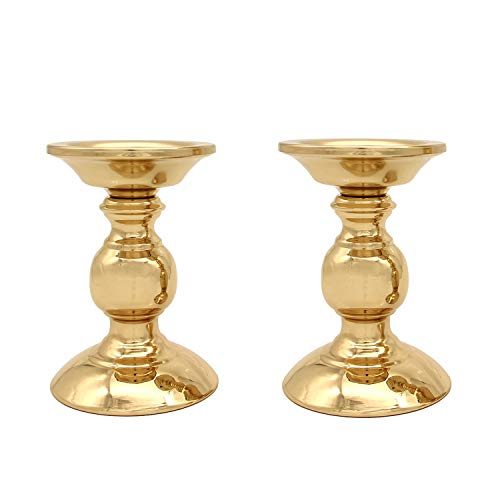 Vincidern 2PC Gold Pillar Votive Candle Holders for 3' Pillar or 3/4' Taper Candle, Iron Candlestick Holder Centerpiece for Home Decor, Dining Table, Party (Pack of 2Pcs)